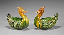 Pair Chinese Sancai Glaze Pottery Ducks