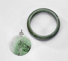 Chinese Carved Jadeite Bracelet & Pendant