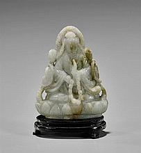 Old Carved Jade Seated Guanyin