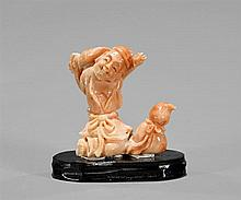 Miniature Chinese Carved Coral Figure