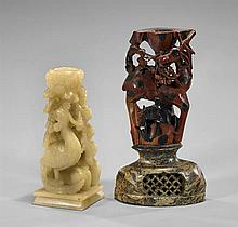 Two Chinese Soapstone Candleholders