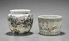 Two Chinese Famille Rose Jar & Brushpot
