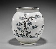 Large Korean Blue & White Vase