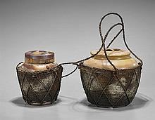 Two Chinese Ceramic Sealed Tea Caddies