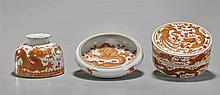 Three Chinese Coral Red Scholar's Objects