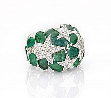 Large Emerald & Diamond Cocktail Ring