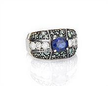 18K Blue Sapphire & Diamond Ring