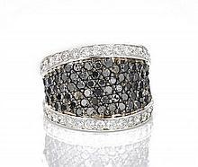14K Black & White Diamond Ring