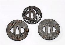 Three Antique Bronze Tsuba