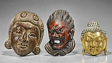 Three Wood & Lacquered Masks