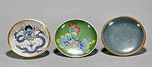 Three Chinese Cloisonné Saucers