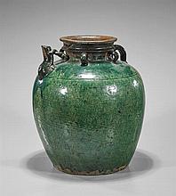 Antique Chinese Glazed Pottery Jug