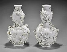 Pair Chinese Moulded Blanc de Chine Vases