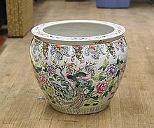 Large Chinese Porcelain Fishbowl