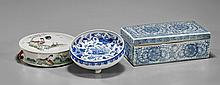 Three Chinese Porcelains: Boxes & Dish
