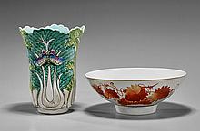 Two Porcelains: Coral Red Bowl & Cabbage Vase