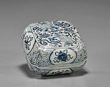 Ming-Style Blue & White Porcelain Box