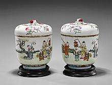 Pair Antique Chinese Porcelain Covered Jars
