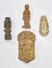 Four Chinese Carved Hardstone Pendants