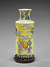 Chinese Famille Rose Porcelain Vase: Eight Immortals
