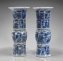 Pair Tall Chinese Blue & White Gu Vessel