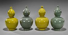 Two Pair Chinese Double Gourd Vases