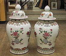 Pair Large Famille Rose Porcelain Jars