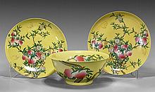Three Large Chinese Porcelain Peach Dishes