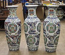Set of Three Tall Doucai-Type Vases