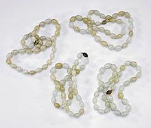 Five Celadon Jade & Onyx Bead Necklaces