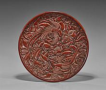 Chinese Lacquer-Like Charger: Phoenixes