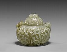 Fine Chinese Celadon Jade Covered Urn
