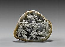 Chinese Carved Jade Pebble: Sage