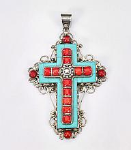 Turquoise & Coral Sterling Silver Cross Pendant