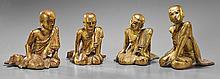 Four Antique Southeast Asian Wood Attendants