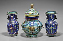 Three Chinese Cloisonné Enamel Vases