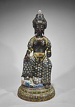 Large Chinese Cloisonné Seated Guanyin