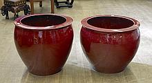 Pair Massive Ox-Blood Red Porcelain Jardinière