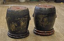 Pair Chinese Wood Garden Seats/Containers