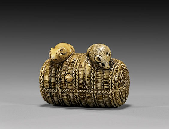 ANTIQUE IVORY NETSUKE: Rodents & Rice Bale