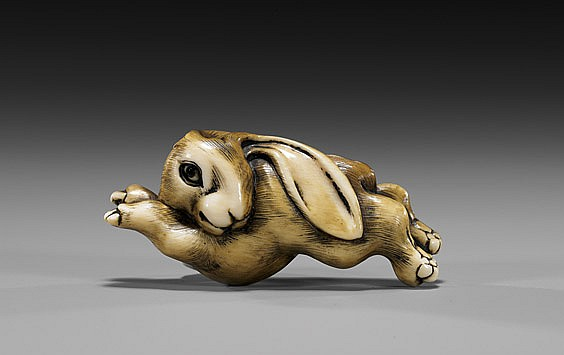 CARVED IVORY NETSUKE: Leaping Rabbit