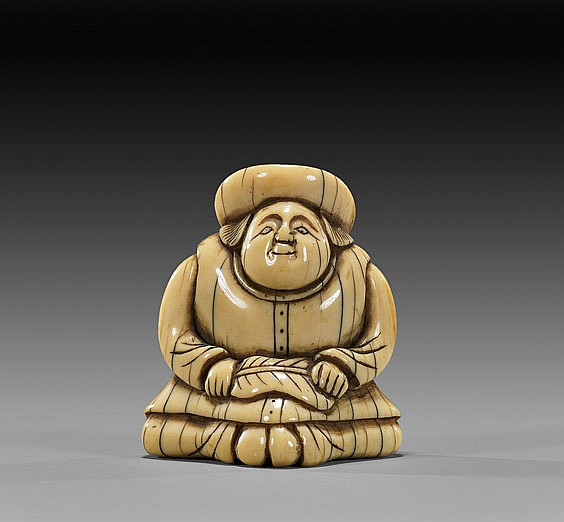 ANTIQUE IVORY NETSUKE: Foreigner & Fan
