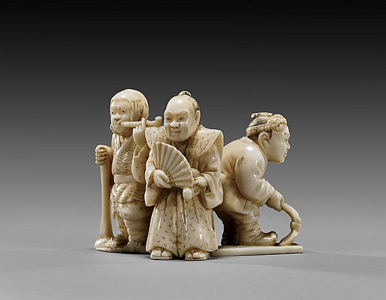 ANTIQUE IVORY NETSUKE: Four Figures