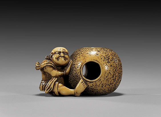 ANTIQUE IVORY NETSUKE: Figure & Ball