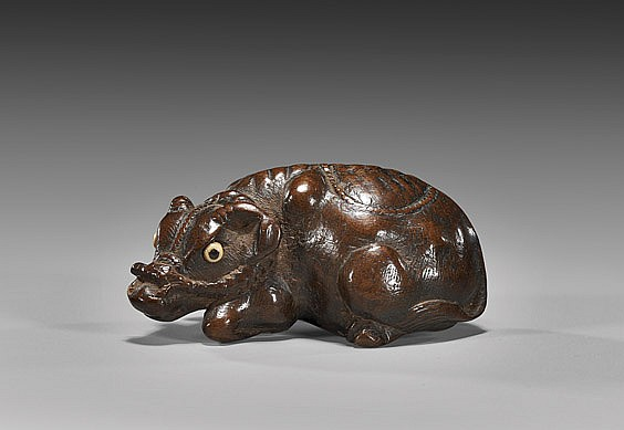 ANTIQUE WOOD NETSUKE: Water Buffalo