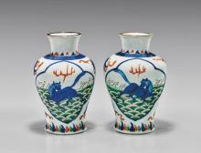PAIR ANTIQUE WUCAI PORCELAIN VASES