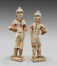 PAIR TANG PAINTED POTTERY FIGURES