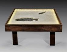 IMPRESSIVE FOSSIL FISH COFFEE TABLE