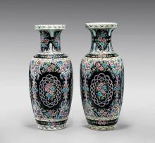 PAIR LARGE FAMILLE ROSE PORCELAIN VASES