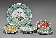 Five Chinese Enameled Porcelain Plates